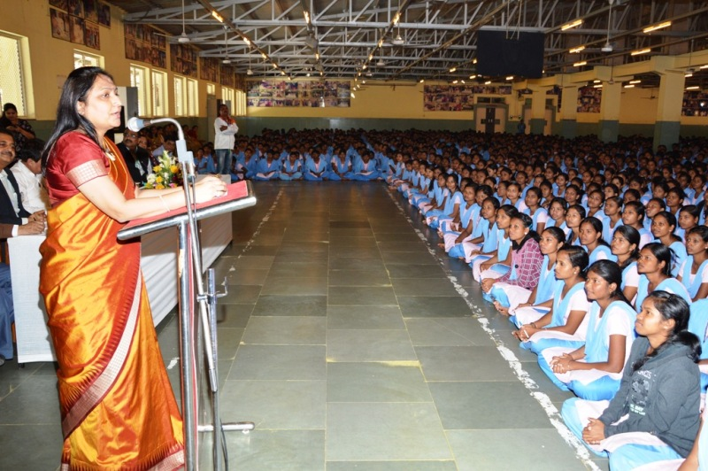 Priti Adani while addressing the students of Kalinga Institute of Social Sciences (KISS) Residential School