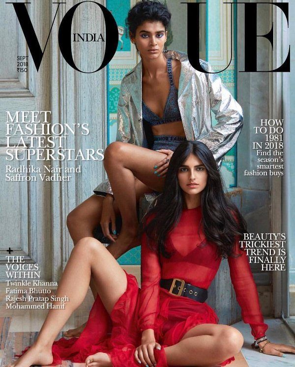 Radhika Nair on the cover of Vogue 2018 with Saffron Vadher
