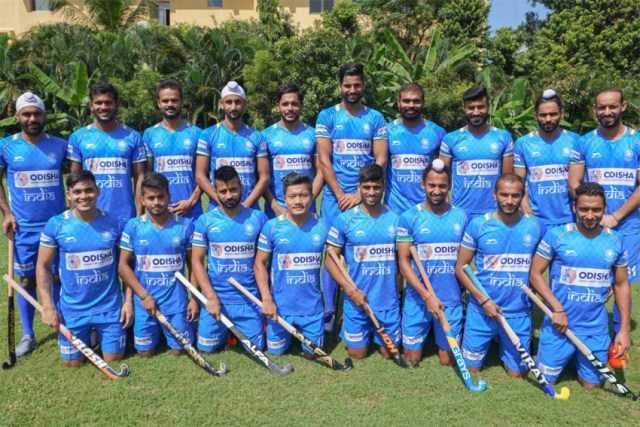 Simranjeet Singh (extreme right in the second row) with the Indian team for Tokyo Olympics 2020