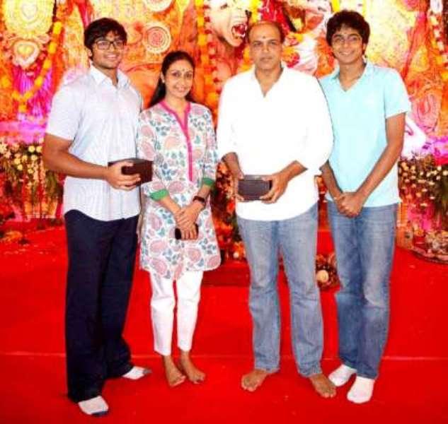 Sunita Gowariker with her husband and sons