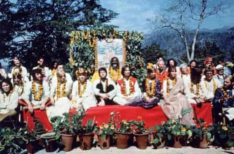 The Beatles and their partners with the Maharishi Mahesh Yogi at Rishikesh in March 1968