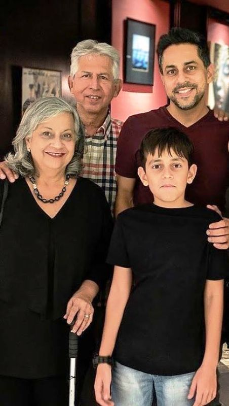 Vishen Lakhiani with his parents and son