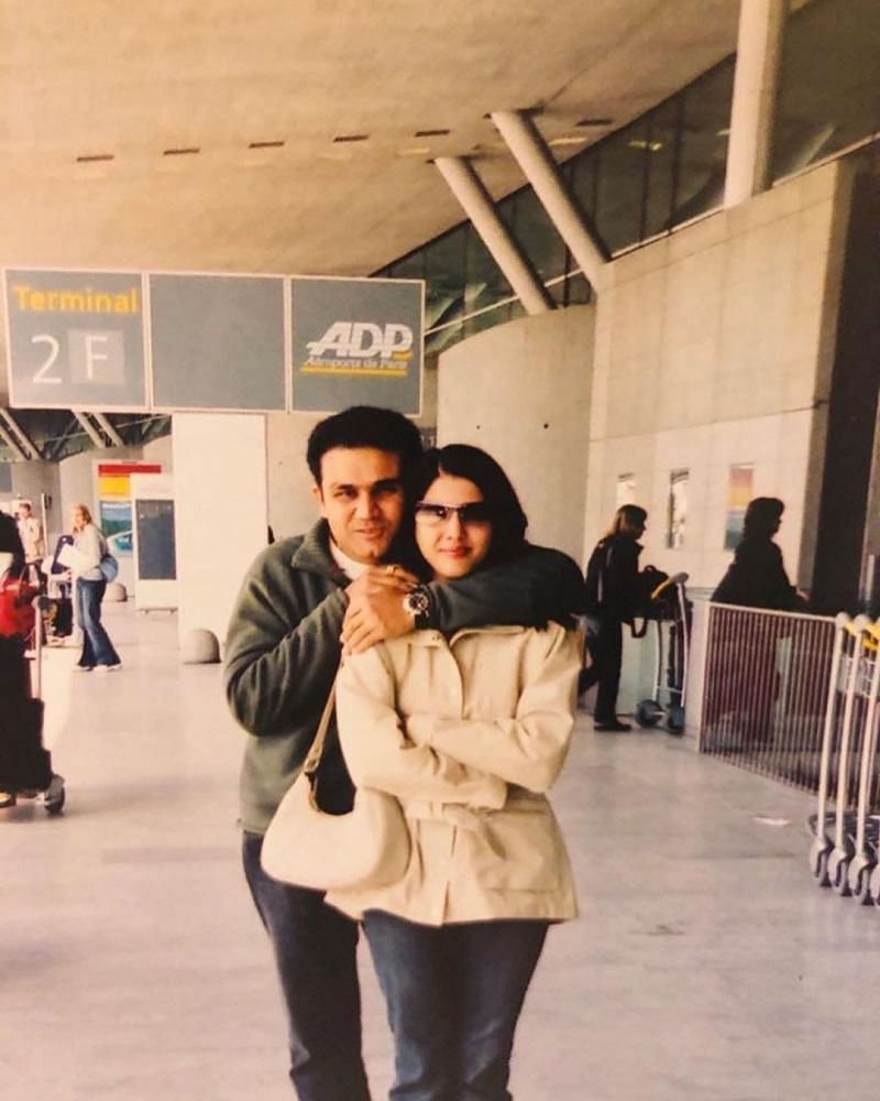 Aarti Sehwag with Virender Sehwag in her younger days