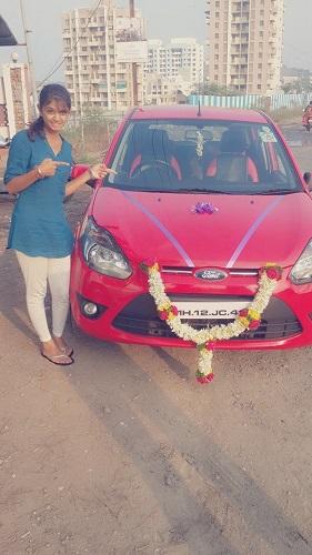 Ishwari Deshpande with her car