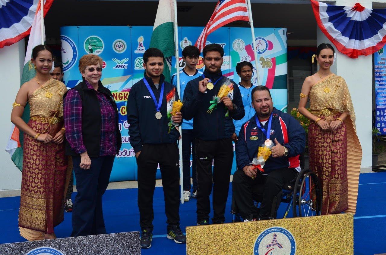 Manish Narwal after winning the Gold medal at the Bangkok 2017 World Shooting Para Sport