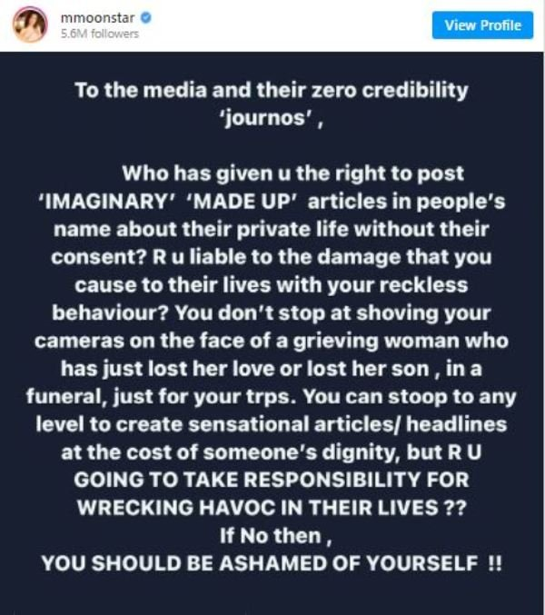 Munmun Dutta's Instagram post for the media expressing her disappointment for being age shamed