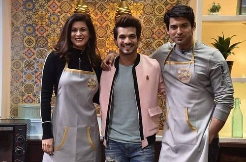 Neetu Shukla with Arjun Bijlani and Siddharth Shukla in Kitchen Champion