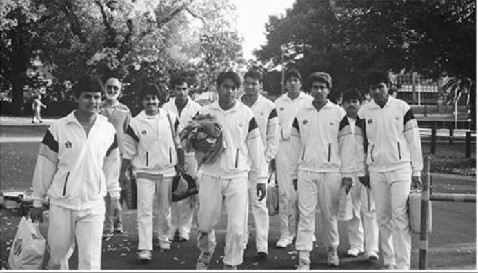 Ramiz Raja walking with his team to the MCG stadium for playing the 1992 ICC World Cup Finals against England