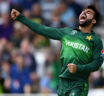 Shadab Khan celebrating after taking a wicket of Quinton De Kock in CWC 2019