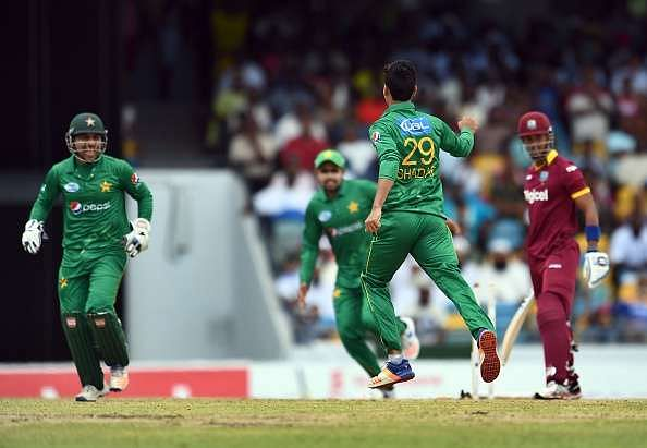 Shadab Khan wrecking up West Indies batting line-up with his Wristy Leg spin in his debut T20I game