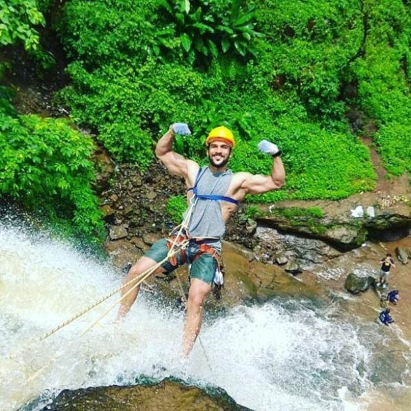 Vishhal Nikam enjoying water rappelling
