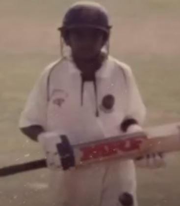 KS Bharat batting in his childhood